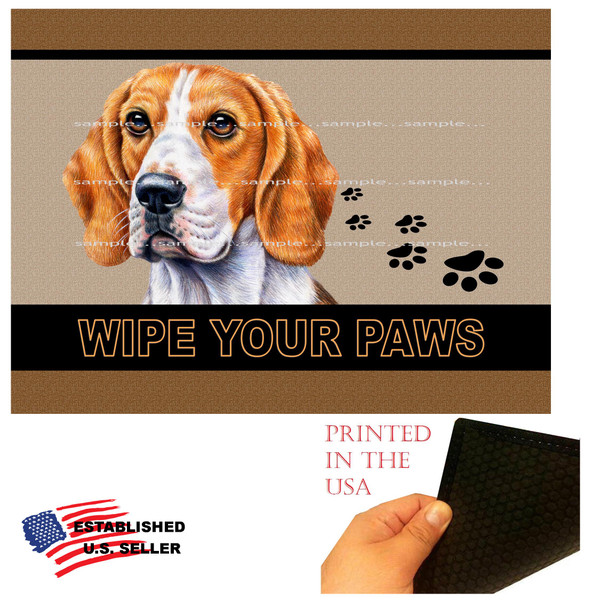 "Beagle Dog Breed Wipe Your Paws 18""x24"" Brown Doormat Rug"
