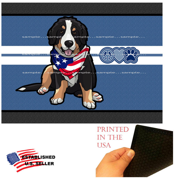 """Bernese Mountain Dog Breed Peace Love & Paw 18""""x24"""" Blue Doormat Rug"""