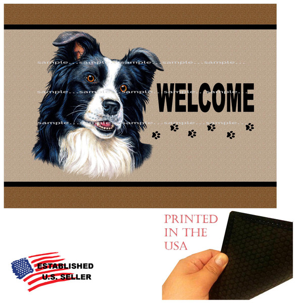 "Border Collie Dog Breed Welcome  18""x24"" Brown Doormat Rug"
