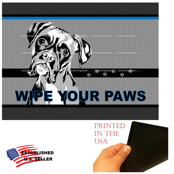 "Boxer Dog Breed Wipe Your Paws  18""x24"" Gray Doormat Rug"
