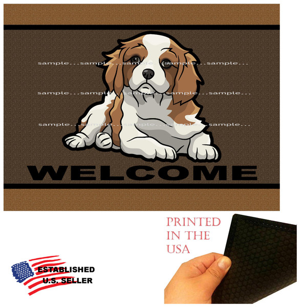 """Cavalier King Charles Spaniel Dog Breed Puppy Welcome  18""""x24"""" Brown Doormat Rug"""