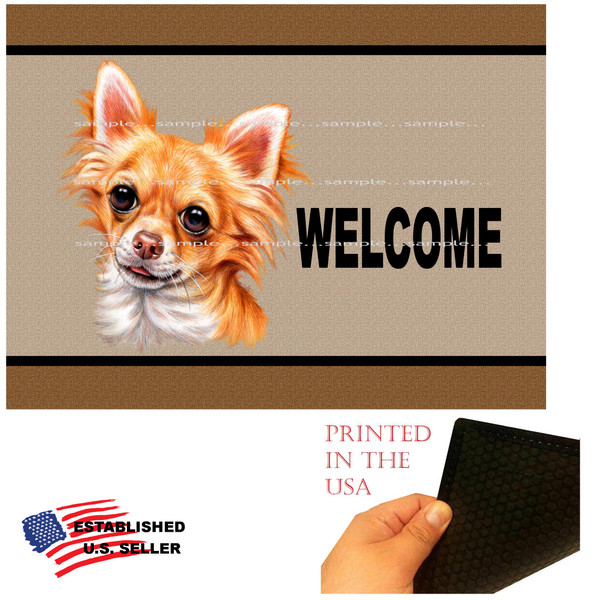 """Chihuahua Dog Breed Welcome  18""""x24"""" Brown Doormat Rug"""
