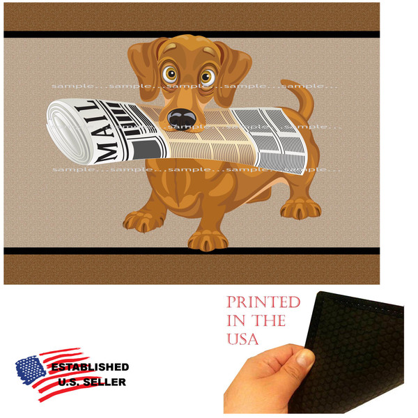 """Dachshund Dog Breed Cartoon Graphic .. Fetch The Paper 18""""x24"""" Brown Doormat Rug"""