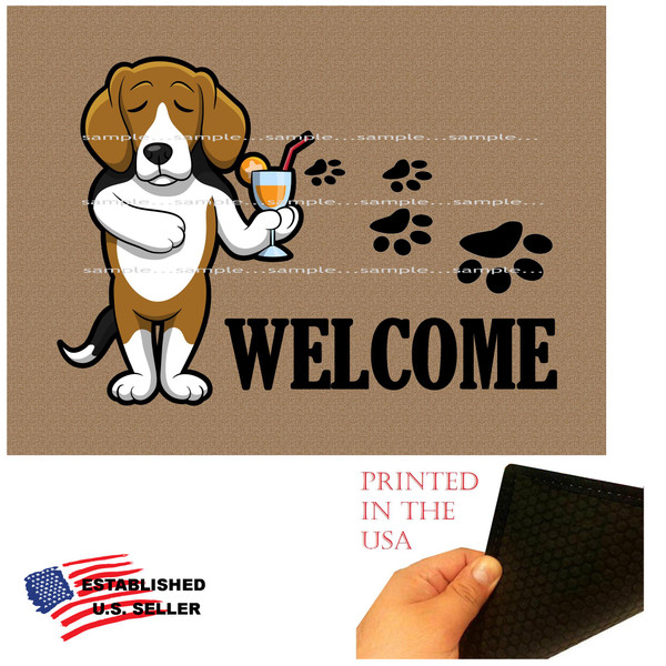 "Beagle Dog Breed Cartoon Graphic Drinking Cocktail .. Welcome  18""x24"" Brown Doormat Rug"