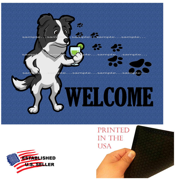 "Border Collie Dog Breed Cartoon Graphic Drinking Cocktail .. Welcome  18""x24"" Blue Doormat Rug"