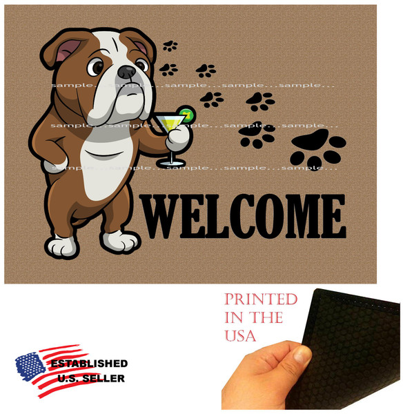 "Bulldog Dog Breed Cartoon Graphic Drinking Cocktail .. Welcome  18""x24"" Brown Doormat Rug"