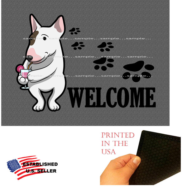 "Bull Terrier Dog Breed Cartoon Graphic Drinking Cocktail .. Welcome  18""x24"" Gray Doormat Rug"
