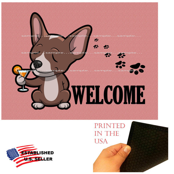 """Chihuahua Dog Breed Cartoon Graphic Drinking Cocktail .. Welcome  18""""x24"""" Pink Doormat Rug"""