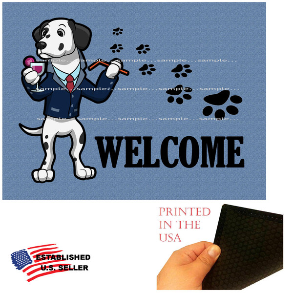 """Dalmatian Dog Breed Cartoon Graphic Drinking Cocktail .. Welcome  18""""x24"""" Blue Doormat Rug"""