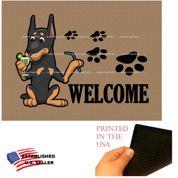 "Doberman Pinscher Dog Breed Cartoon Graphic Drinking Cocktail  ..  Welcome  18""x24"" Brown Doormat Rug"