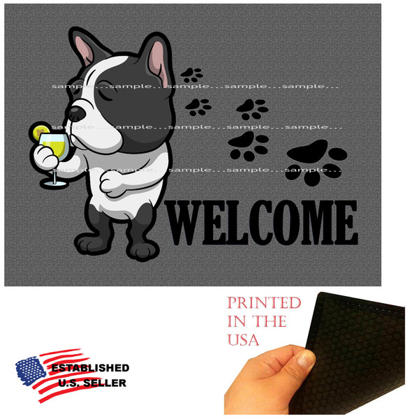 """French Bulldog Dog Breed Cartoon Graphic Drinking Cocktail  ..  Welcome  18""""x24"""" Gray Doormat Rug"""