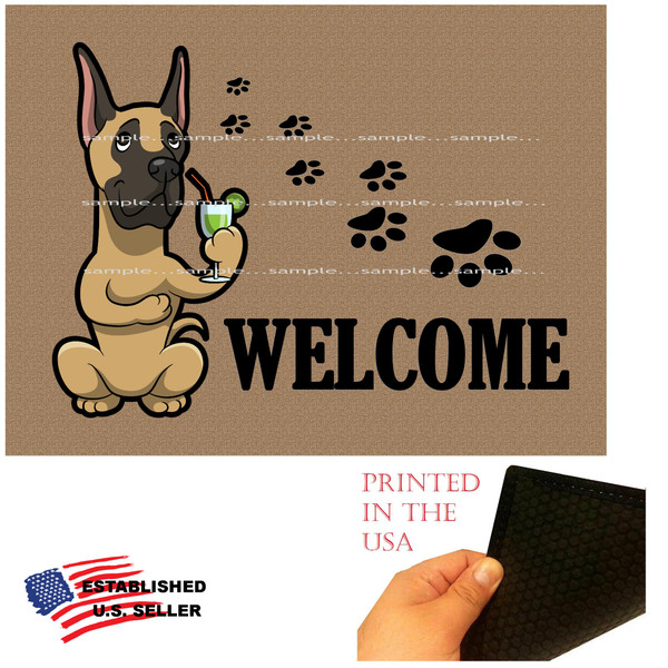 """Great Dane Dog Breed Cartoon Graphic Drinking Cocktail  ..  Welcome  18""""x24"""" Brown Doormat Rug"""