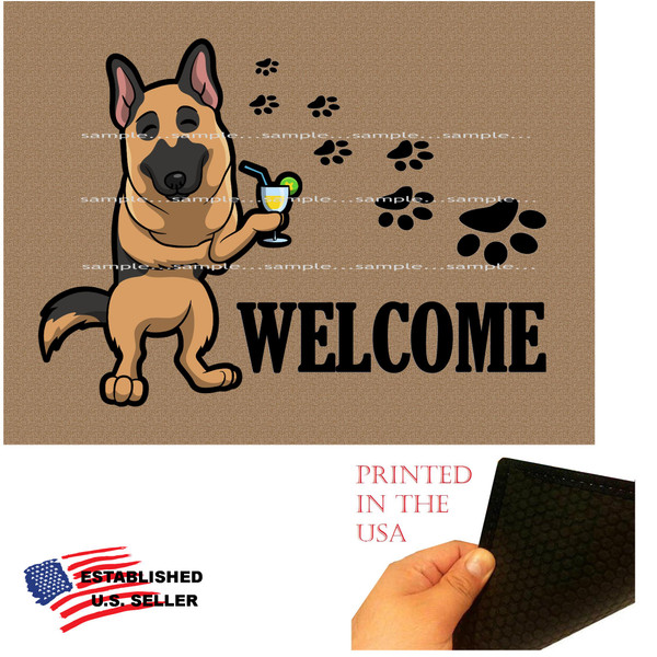 "German Shepherd Dog Breed Cartoon Graphic Drinking Cocktail  ..  Welcome  18""x24"" Brown Doormat Rug"