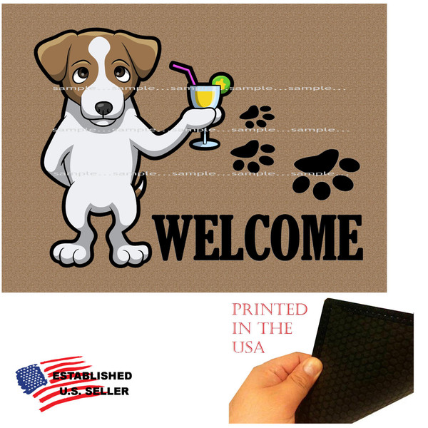 "Jack Russell Terrier Dog Breed Cartoon Graphic Drinking Cocktail  ..  Welcome 18""x24"" Brown Doormat Rug"