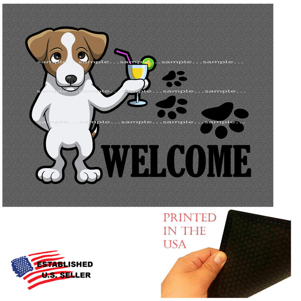 """Jack Russell Terrier Dog Breed Cartoon Graphic Drinking Cocktail  ..  Welcome 18""""x24"""" Gray Doormat Rug"""