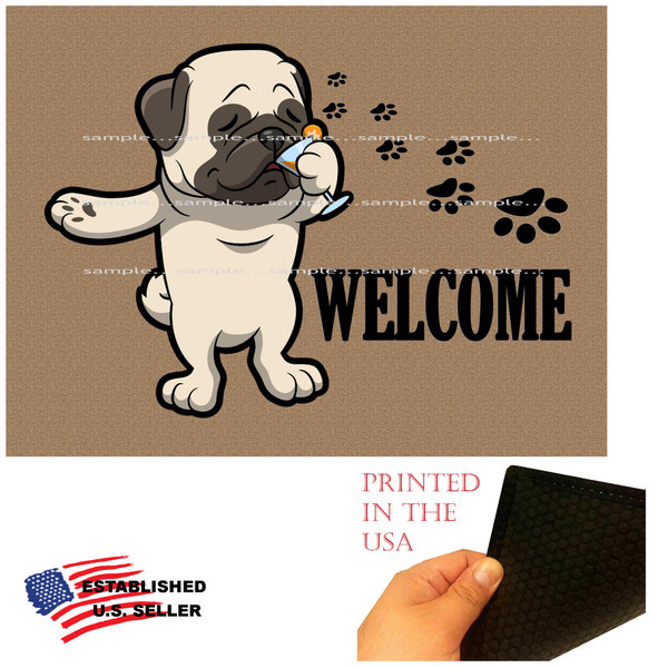 "Pug Dog Breed Cartoon Graphic Drinking Cocktail  ..  Welcome 18""x24"" Brown Doormat Rug"