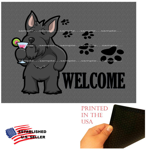 """Scottish Terrier Dog Breed Cartoon Graphic Drinking Cocktail  ..  Welcome 18""""x24"""" Gray Doormat Rug"""