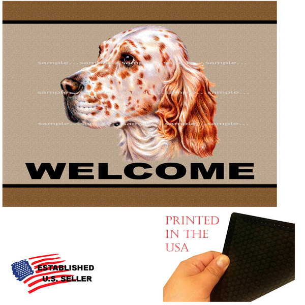 """English Setter Dog Breed Welcome 18""""x24"""" Brown Doormat Rug"""