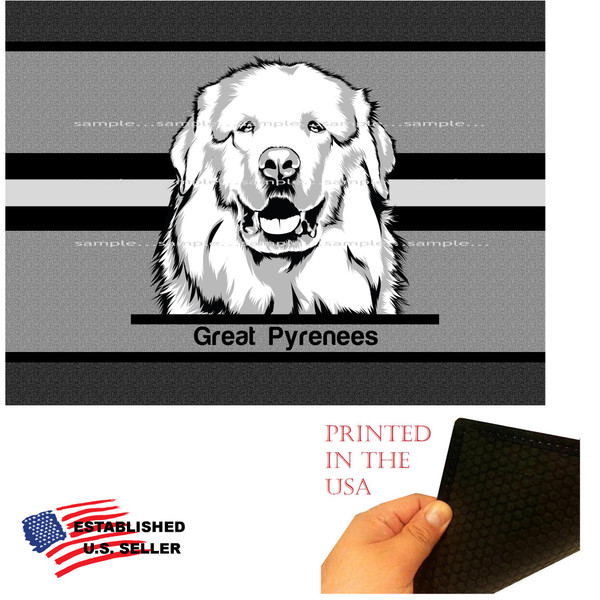 """Great Pyrenees Dog Breed Front Graphic 18""""x24"""" Gray Doormat Rug"""