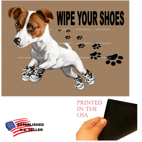 """Jack Russell Terrier Dog Breed Puppy Wipe Your Shoes 18""""x24"""" Brown Doormat Rug"""