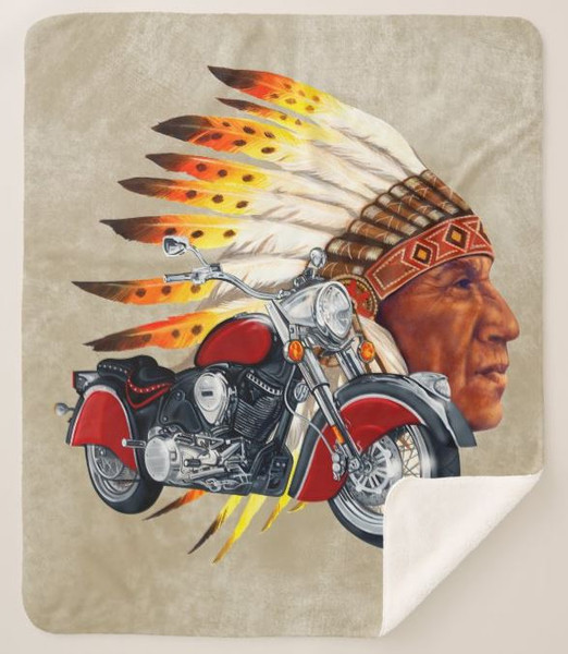 Indian Chief Biker Classic Motorcycle Graphic Art Brown Sherpa Fleece Collectible Throw Blanket