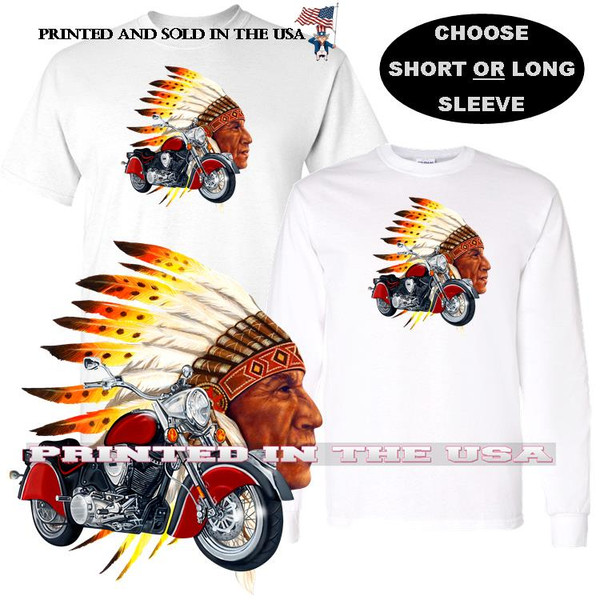 Indian Chief Biker Classic Motorcycle Graphic Art T Shirt