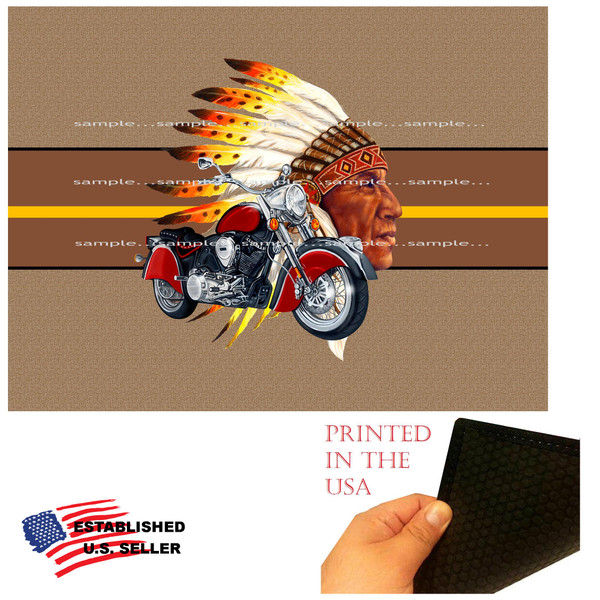 Indian Chief Biker Classic Motorcycle Graphic Art Doormat Floor Mat Rug