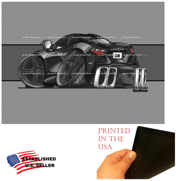 (CHE) Corvette C8 2020 Black With Black Wheels DigiRods Cartoon Car Art Doormat Rug