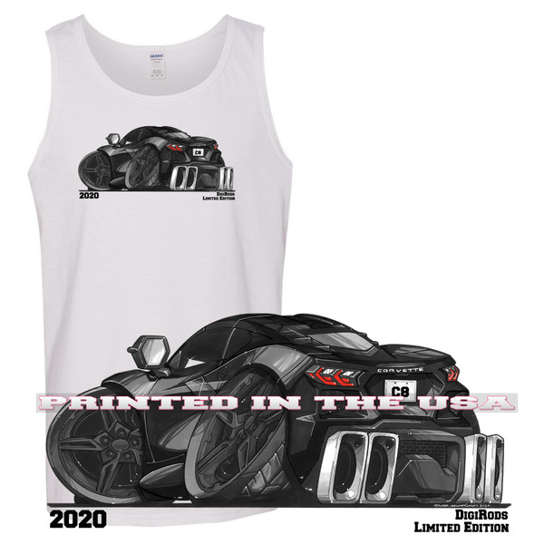 (CHE) Corvette C8 2020 Black With Black Wheels DigiRods Car Cartoon Art Limited Edition Tank Top T Shirt