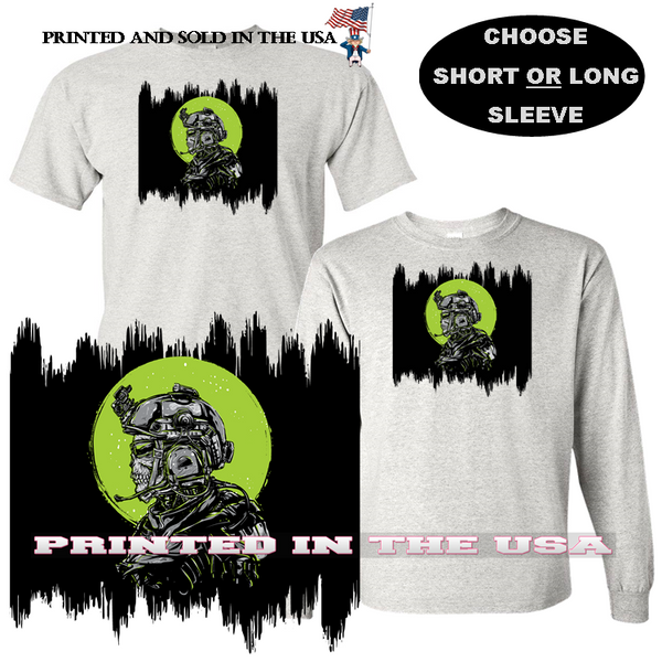 Military Army Night Time Reconnaissance Skeleton Soldier Graphic Art Gray T Shirt