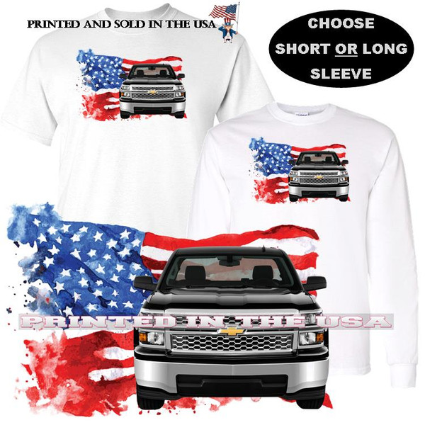 (CHE) Silverado USA Truck American Flag Background Car Art T Shirt