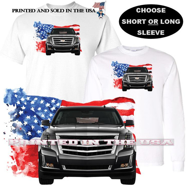 (CAD) Escalade USA Black SUV American Flag Background Car Art T Shirt