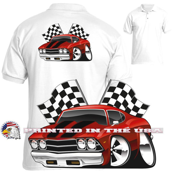 (CHE) Chevrolet Chevy Chevelle Red & Black Winners Circle Racing Flags Graphic Art Polo Sport Shirt