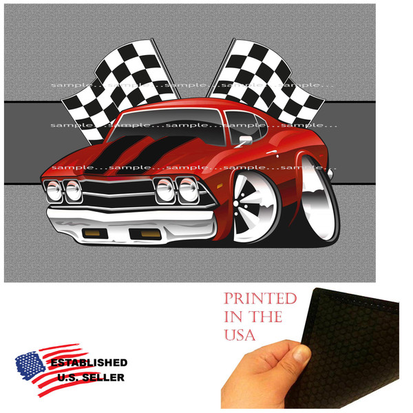 (CHE) Chevrolet Chevy Chevelle Red & Black Winners Circle Racing Flags Classic Car Art Garage / Welcome Home Doormat  Door Mat Floor Rug
