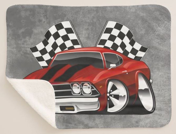 (CHE) Chevrolet Chevy Chevelle Black & Red Winners Circle Racing Flags Cartoon Car Art Sherpa Fleece Collectible Throw Blanket