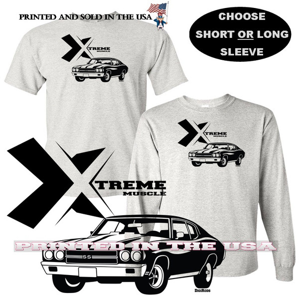 (CHE) Chevrolet Chevy Chevelle Classic SS Extreme Muscle Series Car Graphic Gray T Shirt