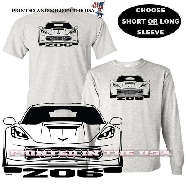 (CHE) Chevrolet Chevy Corvette C7 Z06 Front View Extreme Speed Series Car Graphic Gray T Shirt