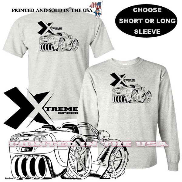 (CHE) Chevrolet Chevy Corvette C6 Convertible Extreme Speed Series Car Graphic Gray T Shirt