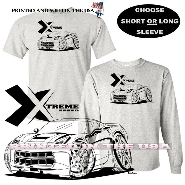 (CHE) Chevrolet Chevy Corvette C7 Extreme Speed Series Car Graphic Gray T Shirt