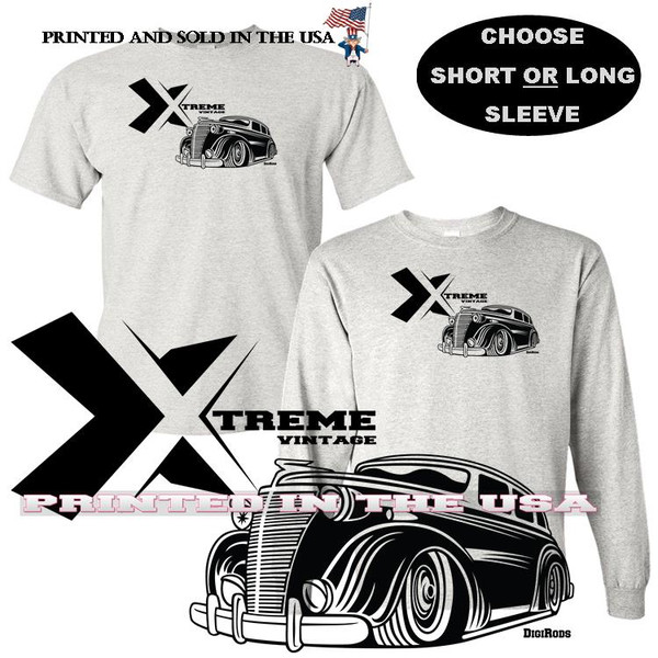 (CHE) Chevrolet Chevy Lowrider 1939 Coupe Extreme Vintage Series Car Graphic Gray T Shirt