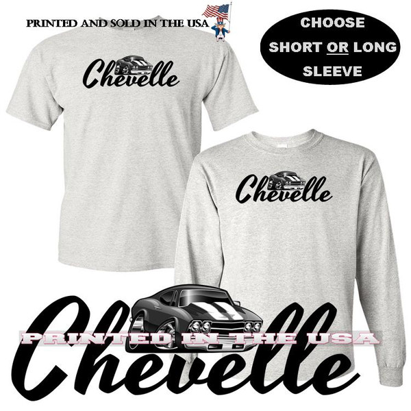 (CHE) Chevrolet Chevy Chevelle Classic Muscle Car Black Letters Logo Graphic Gray T Shirt