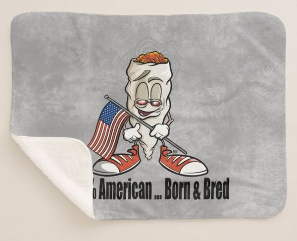 Richie Roach Cartoon Character Marijuana Pot  100% American Born And Bred Graphic Art Sherpa Fleece Collectible Throw Blanket