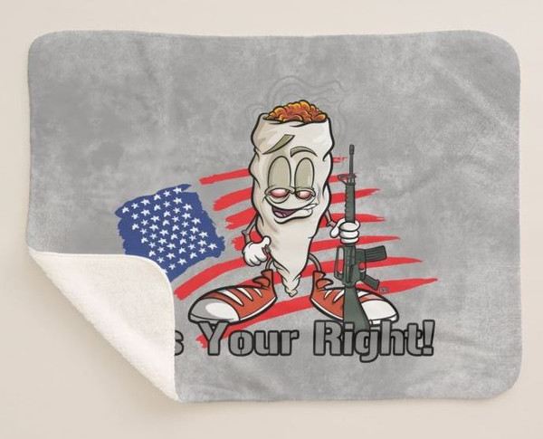 Richie Roach Cartoon Character Marijuana Pot Gun Owner It's Your Right Graphic Art Sherpa Fleece Collectible Throw Blanket