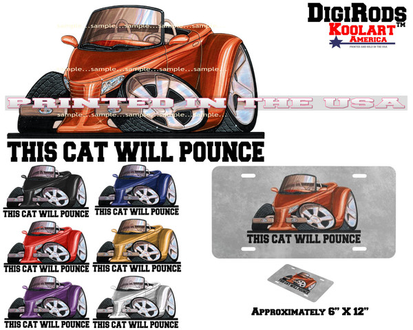 (CHR) Chrysler / Plymouth Prowler This Cat Will Pounce DigiRods / Koolart Cartoon Cars Custom Vanity Automobile License Plate (7 Colors)