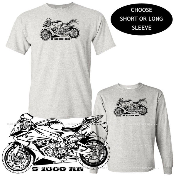 (BMW) BMW S1000RR S 1000 RR Motorcycle Model Black Outline DigiRods / Koolart Car Gray T Shirt