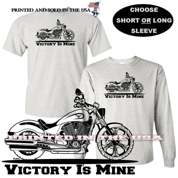 (VIC) Victory Motorcycle Victory Is Mine Black Outline DigiRods / Koolart Car Gray T Shirt