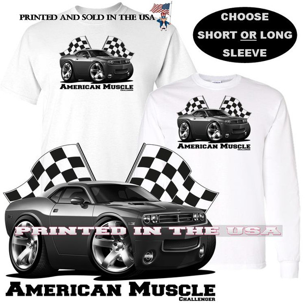 (DOD) Dodge Challenger Late Model Muscle Car Black & White Racing Flags Graphic Car T Shirt