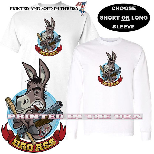 Bad Ass Donkey Militia Soldier Weapons Cartoon Graphic T Shirt