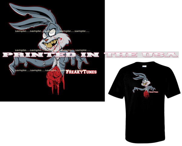 Bugs Bunny FreakyTunes Zombie Monster Cartoon Art Black T Shirt