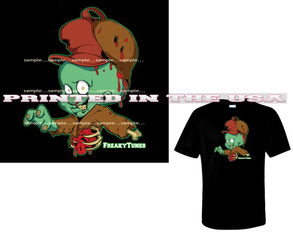 Elmer Fudd FreakyTunes Zombie Monster Cartoon Art Black T Shirt